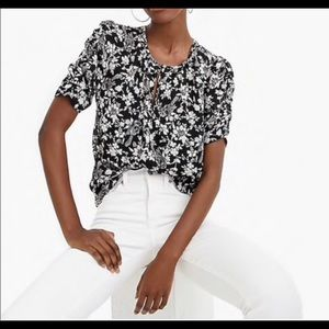 J Crew Ruched Sleeve Floral and Bird Print Blouse